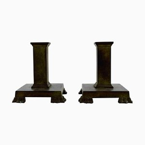 Art Deco Candleholders in Bronze from GAB, 1930s, Set of 2