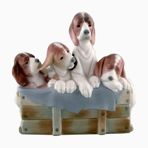 Large Figure in Glazed Porcelain Four Puppies in a Basket from Lladro, Spain, 1980s