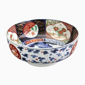 Meiji Period Japanese Imari Footed Bowl with Blue Fuku Mark from Imari & Arita, 1890s