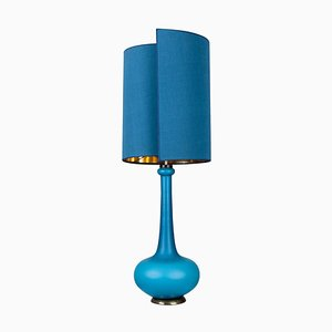 Table Lamp with Silk Lampshade by Holmegaard, 1960s