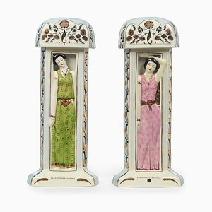 Koloniale Art Deco Lampen von Duchaussy, 2er Set