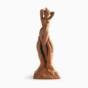 Terracotta Woman Sculpture in Terracotta by Michel Bouraine