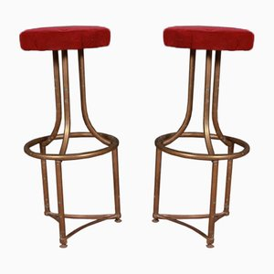 French Brass Barstools, 1920s, Set of 2