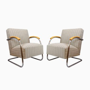 Art Deco Tubular Steel Cantilever Armchairs Fn 21 by Mûcke & Melder, 1930s, Set of 2