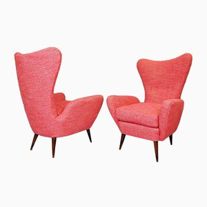 Italian High Back Armchairs Attributed to Paolo Buffa, 1950s, Set of 2
