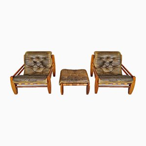 Leather and Wood Armchairs & Pouf, 1970s, Set of 3