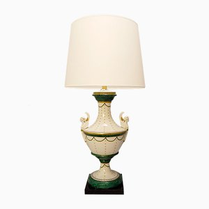Italian Neo-Classical Urn Form Porcelain Table Lamp by Giulia Mangani, 1960s
