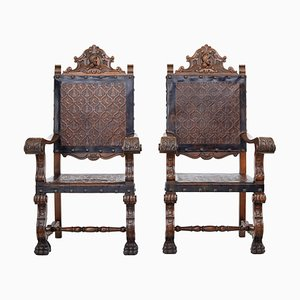 19th Century Spanish Carved Walnut and Embossed Leather Throne Chairs, Set of 2