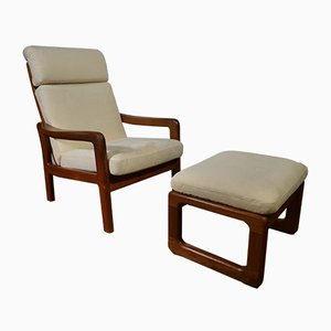 Mid-Century Danish Leather Lounge Chair and Ottoman Set from EMC Mobler, 1970s