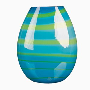 Oval Vase Under the Big Sea in Turquoise Glass from VGnewtrend