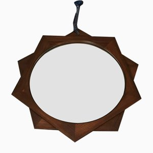 Italian Rosewood Mirror in the Shape of a Star with 10 Points, 1970s