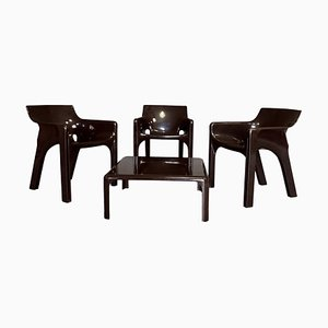 Gaudi Armchairs and Demetrio Coffee Table Set by Vico Magistretti for Artemide, 1974, Set of 4