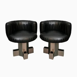 Italian Curved Armchairs in Black Leather and Anodized Aluminium, 1970s, Set of 2