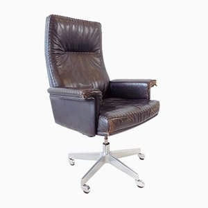 Dark Brown Leather Model DS 35 Swivel Desk Chair from de Sede, 1960s