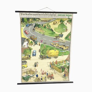 Vintage German School Poster of Agricultural Traffic, 1960s