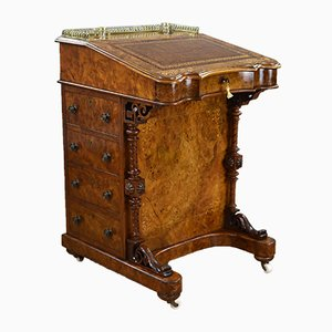 Antique Victorian Burl Walnut Inlaid Davenport Desk