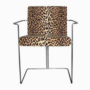 Italian Tubular Chairs with Leopard Pattern from Saporiti Italia, 1960s, Set of 6