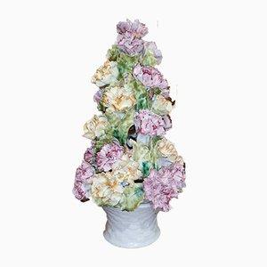 Italian Polychrome Ceramic Floral Vase, 1950s