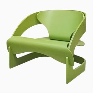 Vintage Italian Green Wood Model 4801 Lounge Chair by Joe Colombo for Kartell, 1960s