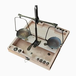 Vintage Italian Scales and Weights Set in Wooden Box, 1950s