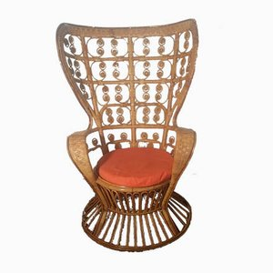 Bamboo and Rattan Lounge Chair, 1960s
