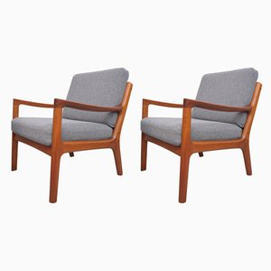 Mid-Century Teak Senator Lounge Chairs by Ole Wanscher for France & Søn / France & Daverkosen, Set of 2