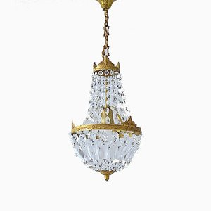 Vintage Empire Style Italian Crystal Chandelier, 1950s