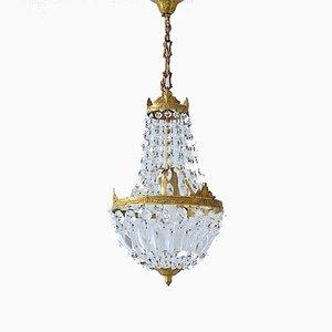 Vintage Empire Style Italian Crystal Chandelier, 1950s