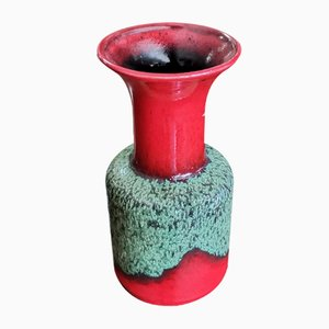 Italian Red and Green Ceramic Vase from Jasba, 1960s