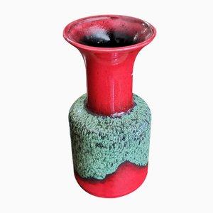Italienische Keramikvase in Rot & Grün von Jasba, 1960er