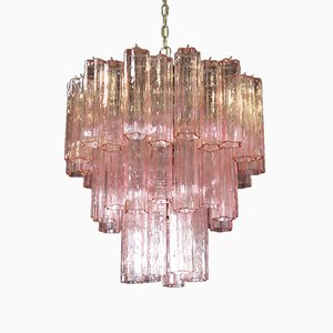 Vintage Murano Glass 3-Tier Tube Chandelier, 1980s