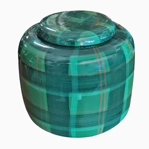 Italian Green Tartan Patterned Vase from Italica Ars, 1950s