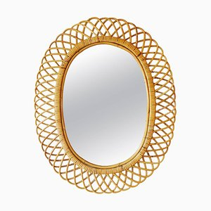 Mid-Century Italian Bamboo and Rattan Oval Mirror in the Style of Franco Albini