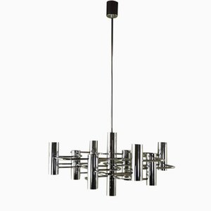 Chrome-Plated Metal Chandelier by Gaetano Sciolari for Sciolari, 1960s
