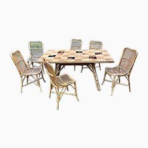 Sillas y mesa de cerámica de bambú, años 50. Juego de 7