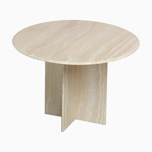 Postmodern Architectural Round Travertine Dining Table, 1970s