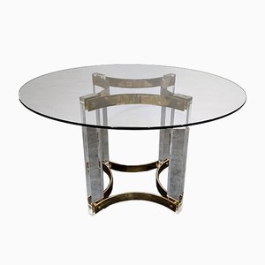 Vintage Lucite and Brass Dining Table by Charles Hollis Jones for Belgo Chrom / Dewulf Selection, 1970s