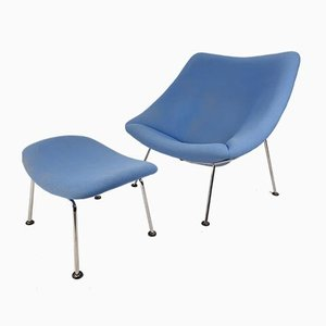 Vintage Oyster Chair and Ottoman Set by Pierre Paulin for Artifort, 1980s