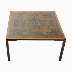 Coffee Table in Padouk with Mosaic by Rolf Middelboe & Gorm Lindum Christensen for Tranekær Furniture, 1970s