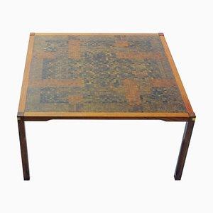 Table Basse en Padouk avec Mosaïque par Rolf Middelboe & Gorm Lindum Christensen pour Tranekær Furniture, 1970s