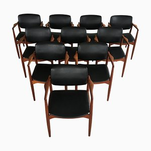 Model 67 Captains Chairs in Teak by Erik Buch for Ørum Møbelfabrik, 1960s, Set of 10