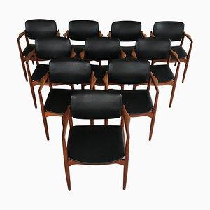 Model 67 Captains Chairs in Teak by Erik Buch for Ørum Møbelfabrik, 1960s, Set of 10