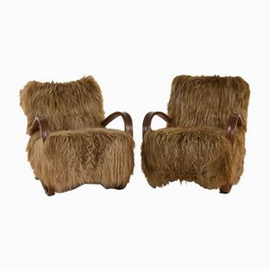 269 Lounge Chairs in Long Hair Sheepskin by Jindřich Halabala for UP Závody, 1930s, Set of 2