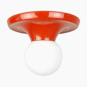 Kleine rot-orangefarbene Aluminum & Opalglas Balum Wandleuchte von Achille Castiglioni für Flos & Arteluce, 1970er