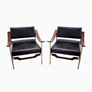 Italian Steel, Curved Plywood & Rosewood Lounge Chairs, 1960s, Set of 2