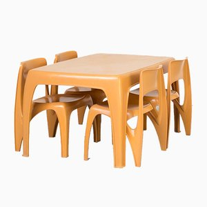 Dining Table & Chairs Set by Preben Fabricius for Interplast, 1970s, Set of 5