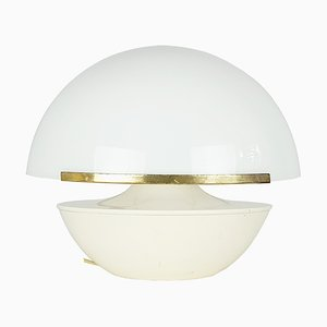 Italian White Perspex Shade, Ivory Aluminium & Brass Table Lamp, 1960s
