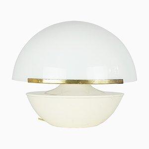 Italienische Weiße Plexiglas Stehlampe, Elfenbeinfarbene Aluminium & Messing Tischlampe, 1960er