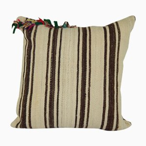 French Handmade Grain Sack Wool Kilim Cushion Cover