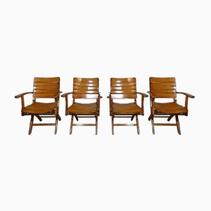 Wooden Folding Garden Chairs from Herlag, 1960s, Set of 4